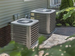 Outdoor HVAC Units With Shrubbery